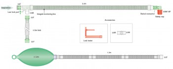 UniFlow™ Koaxial-Beatmungssystem 2,4m mit CO2-Leitung und 2,0l Beutel