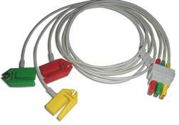EKG Patientenkabel (Ableitung) 3-adrig, IEC, Clip für Datex-Ohmeda